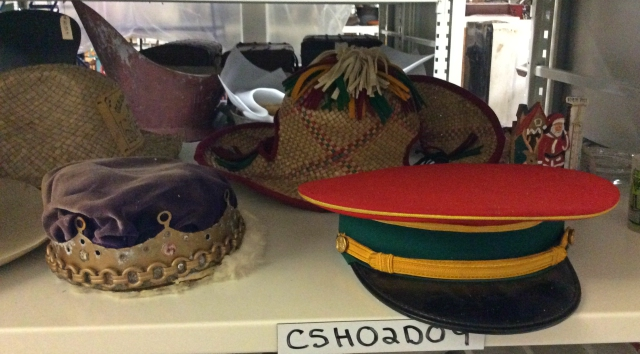 The items in this varied hat collection were once worn by performers at the Land of Makebelieve.