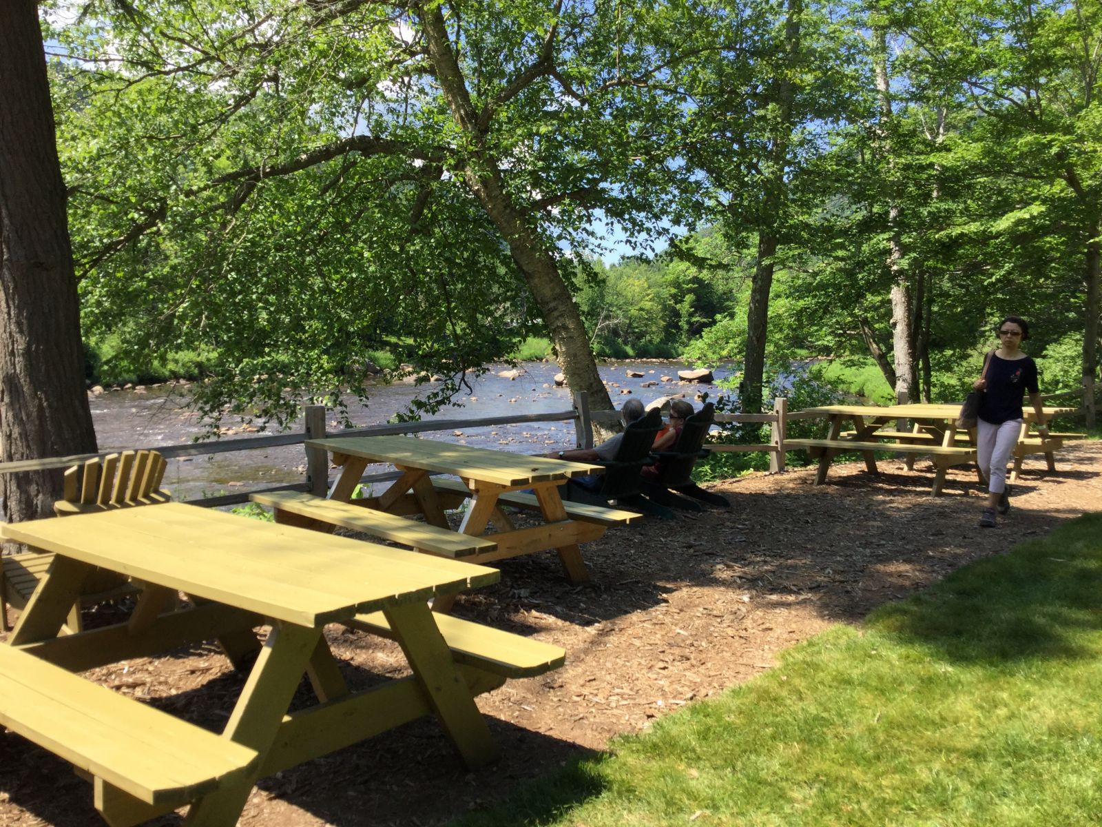 The new outdoor dining area at High Falls Gorge insists you relax.