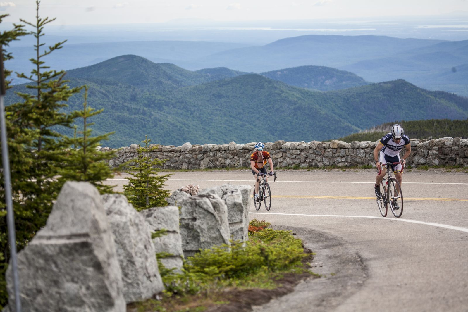 Cycling up the Whiteface toll road.