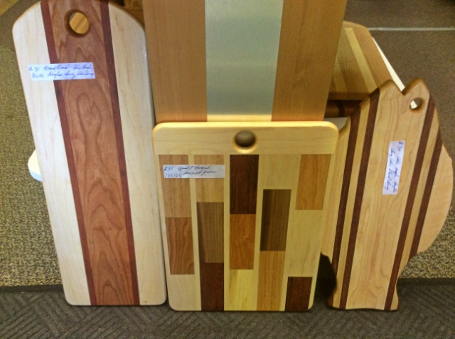 These locally made cutting boards are works of art in themselves.