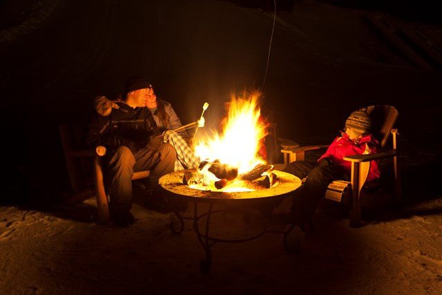 Campfires are fun anytime, but in winter, they are extra special. (photo courtesy ORDA)