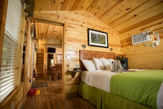 Welcoming interiors for your getaway; seen here, inside a KOA cabin.