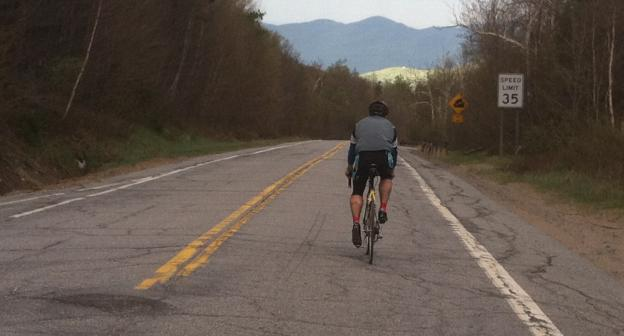 """Ironman In Training Kyle Mochol on the Bloomingdale side of """"River Rd."""