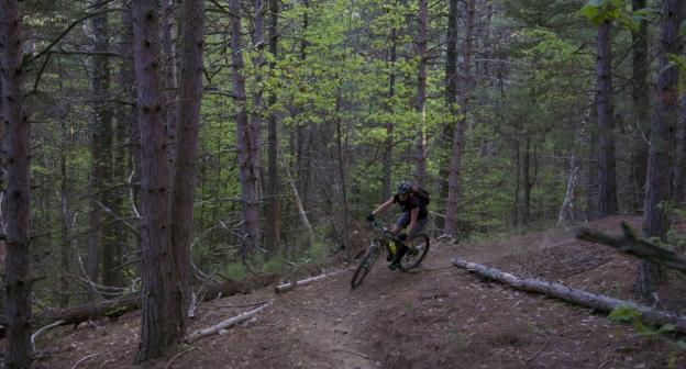 A rider the Hardy Rd. trail system