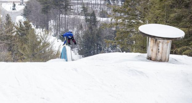 A snowboarder in action at Whiteface.