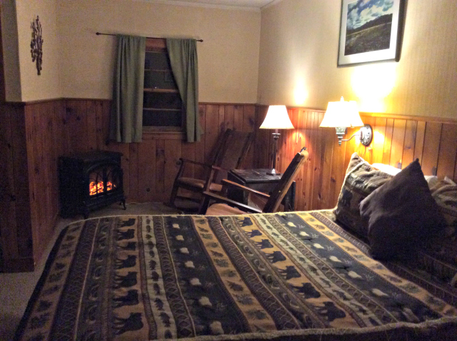 The ADK Trail Inn gave me my own fireplace with the river right outside my window.