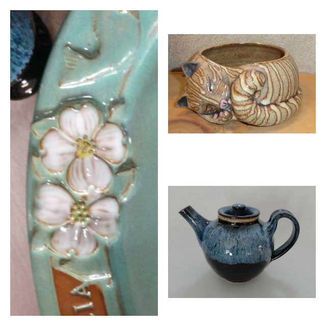 This is only some of the fine pottery pieces available at Young's Gallery in Jay.