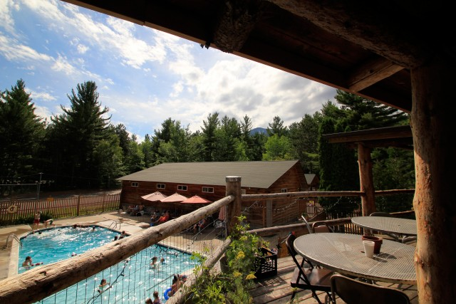 Beautiful view of Whiteface mountain and the pool.