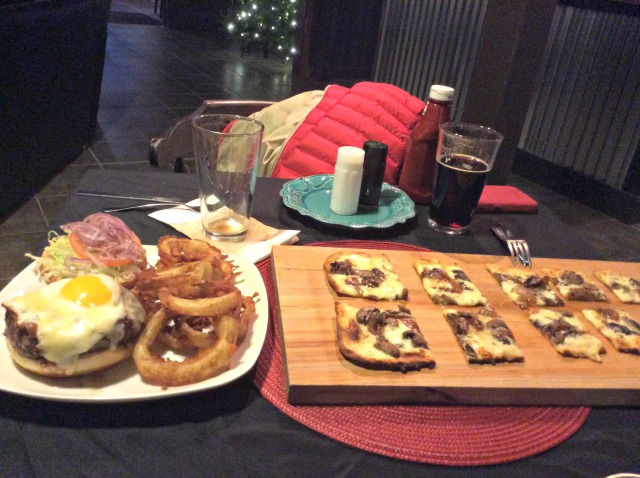My friends got the Lumberjack burger, (left) topped with egg and bacon, and the homemade truffle flatbread (right) which comes in eight varieties.