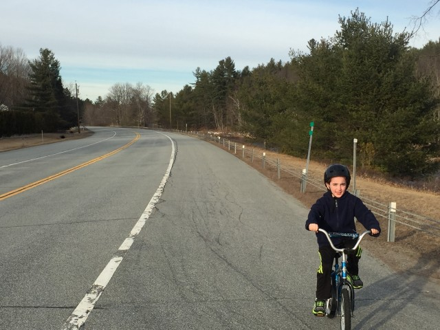 Awesome, clear, paved roadway! Perfect for this young rider!