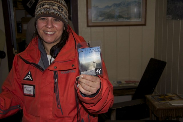 Whiteface Mountain Host Patroller Sandy organizes the First Tracks participants