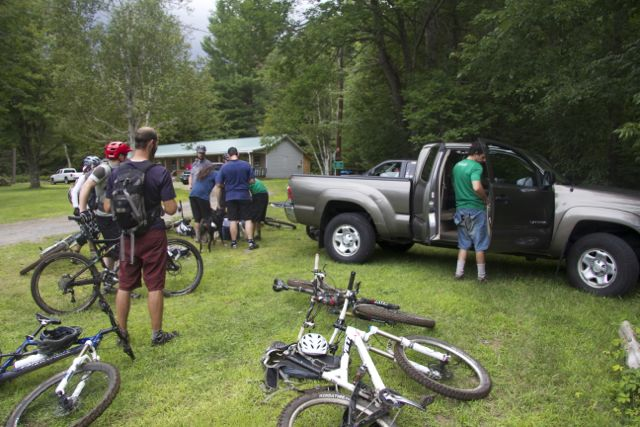 Riders gathering at the end of the trail