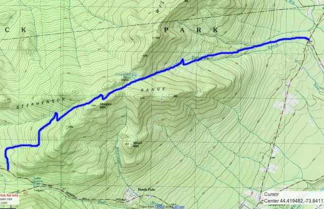 The route highlighted in blue