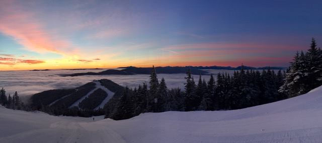Sunset above the cloud on Whiteface Mountain.