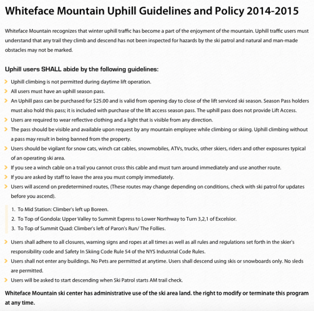 Whiteface Mountain Uphill Ski Rules and Guidelines