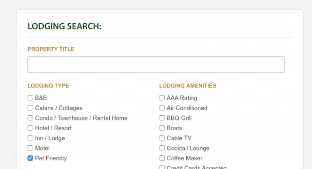 screen shot of lodging search