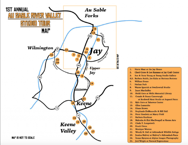 Map of Ausable River Valley Studio Tour