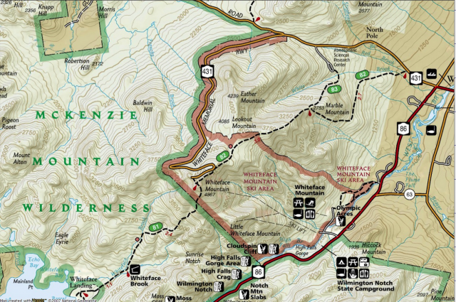 A topo map shows Esther Mountain on the other side of Whiteface from the ski center