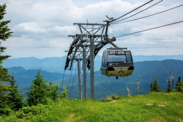 Ski gondola in summer. (image shows an enclosed glass gondala soaring over a summer mountain)