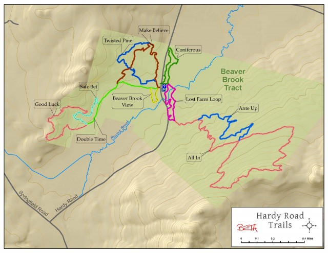 the hardy road trail network located on the beaver brook tract has become well known all over the northeast as the place to mountain bike in the
