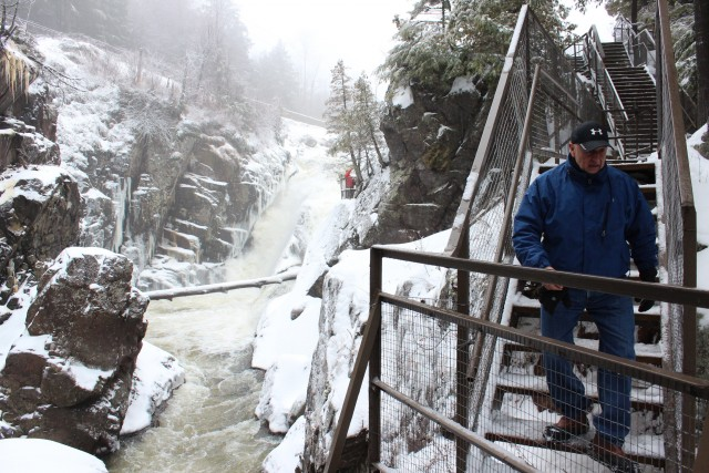 Stairs and walkways guide visitors through High Falls Gorge
