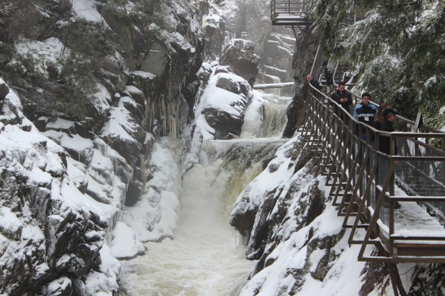 A catwalk gives visitors a unique perspective of High Falls Gorge from midway up the rock wall