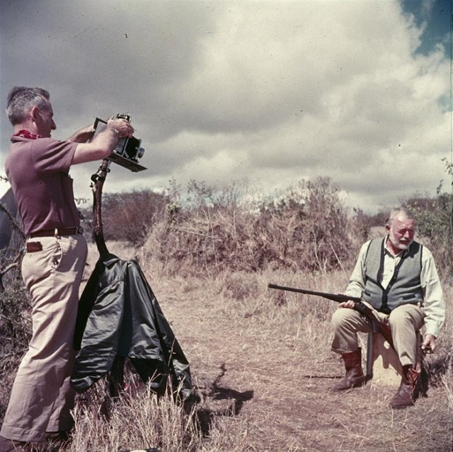 Ernest Hemingway, right, in Africa.