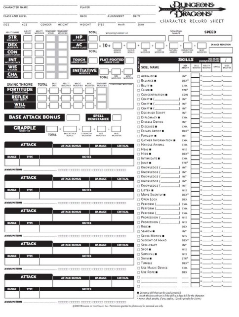 A Dungeons and Dragons character sheet.