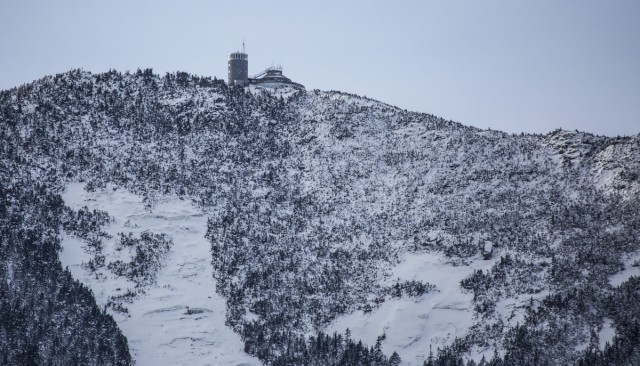 The weather station on Whiteface Mountain can be seen from the base of the mountain.