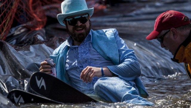 Not everyone can look this dapper after plunging into the pond skimming pool.