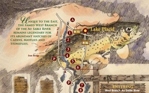 Map of the West Branch Ausable River, New York