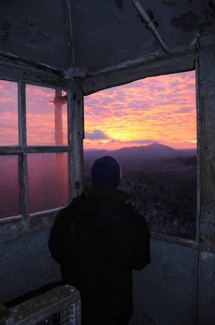 Sunrise from Goodnow Mountain in late November. The deep red color of the sky made the freezing temperatures worth it.
