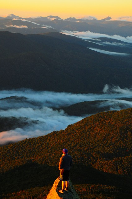 Looking out over the High Peaks during sunrise from Whiteface.
