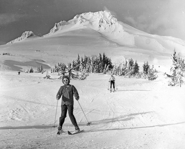 Spiderwoman skis down Mt. Hood in the 1930s.